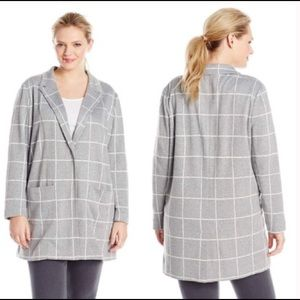 NYDJ Women's Plus Size Plaid Jacket NWT Gray White